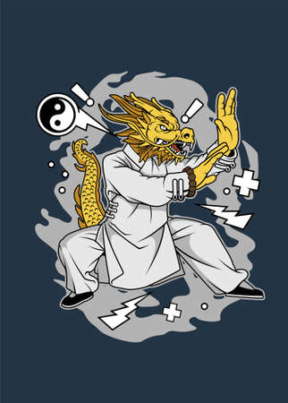 Vector illustration of dragon kungfu for t shirt and posters design Ilustração