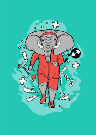 Elephant jogging vector illustration for t shirt design