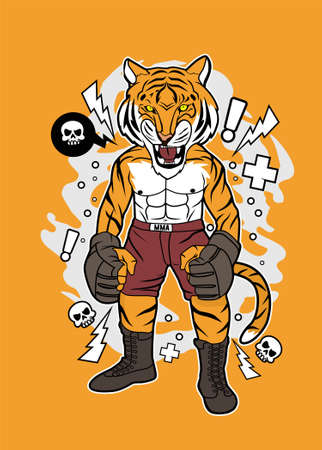 Tiger MMA vector illustration for t shirt and posters design