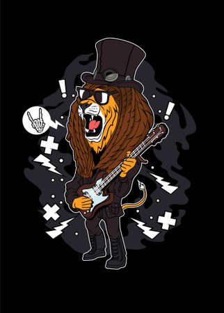 Rock and roll lion vector illustration for t shirt design Ilustração