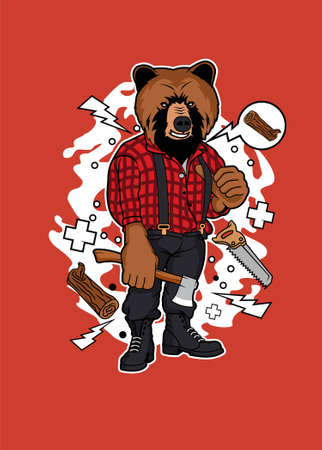 Lumber bear vector illustration for t shirt design and posters.