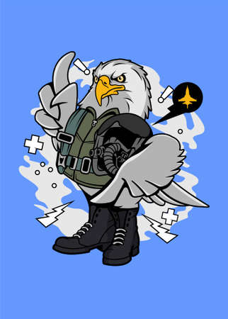 Eagle pilot vector illustration for t shirt design