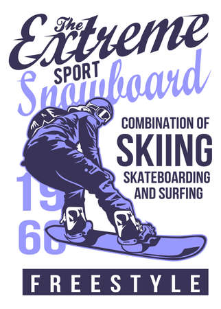 Snowboarding vector illustration for t shirt design