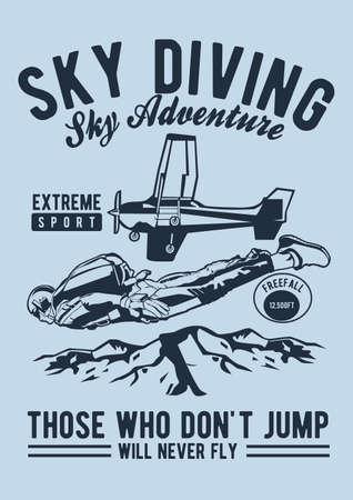 Sky diving vector illustration for t shirt design