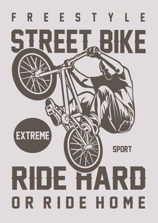 Vector illustration of street bike for your t shirt design