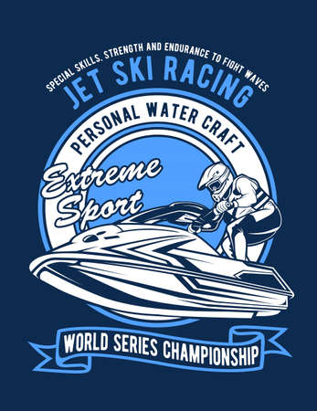 Vector illustration of jet ski racing for t shirt design