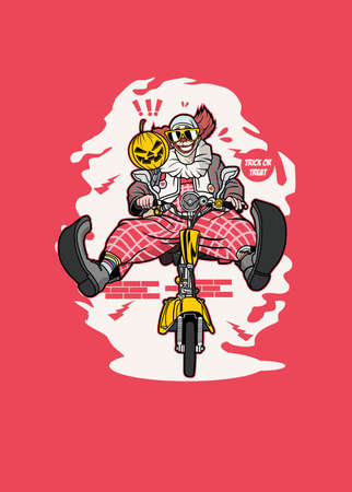 Vector illustration of clown biker for t shirt and posters design