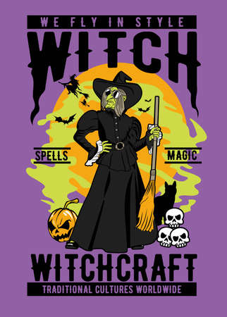 Vector illustration of witch for posters and t shirt design