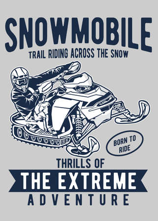 Vector illustration of snowmobile extreme sport