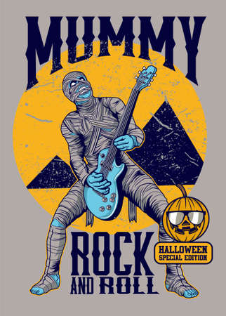 Mummy rock and roll vector illustration for t shirt design