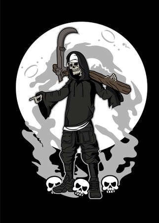 Vector illustration of grim reaper for t shirt design, posters, etc.