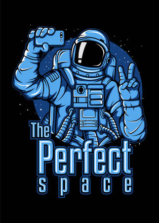 Astronaut selfie vector illustration with black background and simple color for your creative design. Ilustração