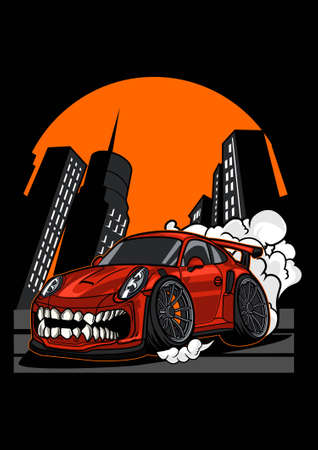 Vector illustration super monster car Ilustração