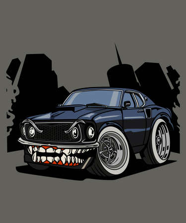 Illustration monster muscle car, high quality colored design with fun concept