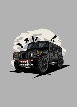 Illustration off road monster car, high quality colored design with fun concept