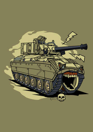 Vector illustration tank monster, high quality colored design with fun concept