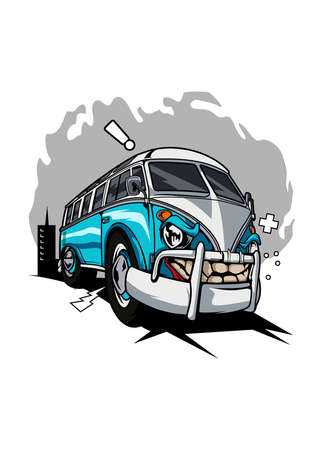 Illustration transporter monster car, high quality colored design with fun concept
