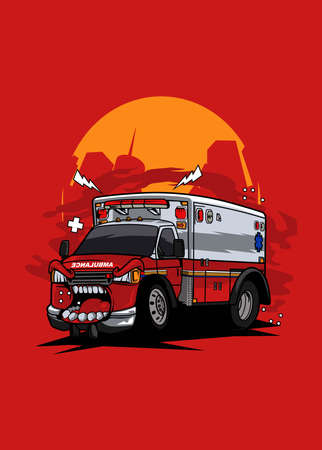 Illustration ambulance monster car, high quality colored design with fun concept