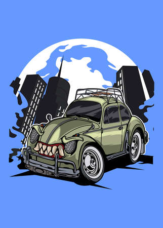 Illustration old monster bug car, high quality colored design with fun concept