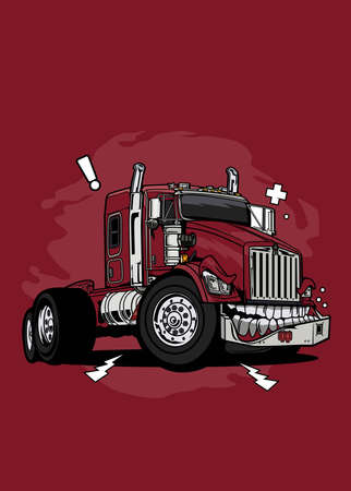 Vector illustration monster red truck, high quality colored design with fun concept Ilustração