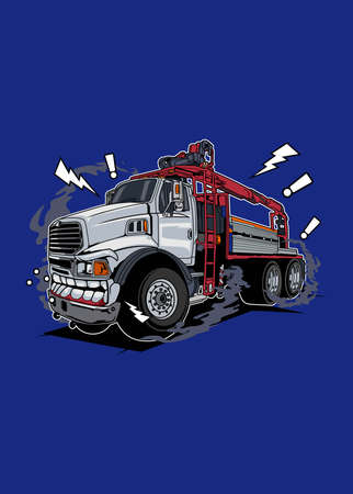 Vector illustration white truck monster, high quality colored design with fun concept,