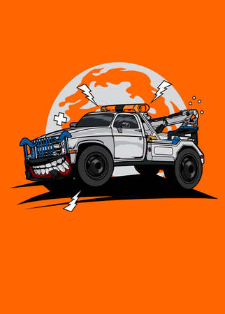 Vector illustration monster tow truck, high quality colored design with fun concept,