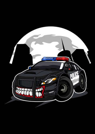 Vector illustration police monster car, high quality colored design with fun concept,