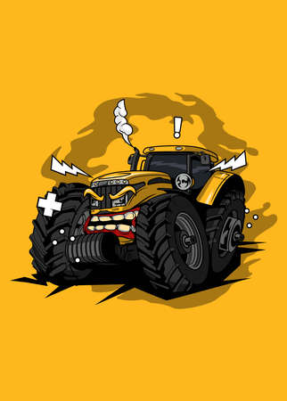 Illustration tractor monster farm, high quality colored design with fun concept,