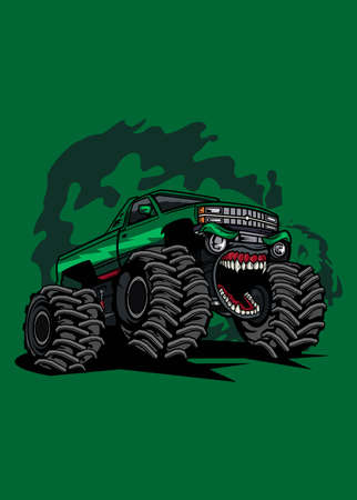 Vector illustration green monster truck, high quality colored design with fun concept, Ilustração