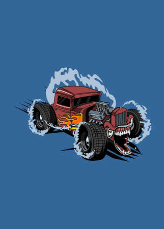 Illustration hot road monster car, high quality colored design with fun concept,