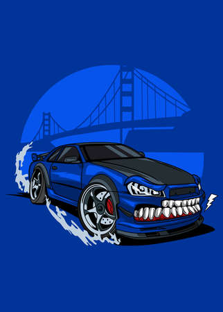 Vector monster blue drift car, high quality colored design with fun concept,