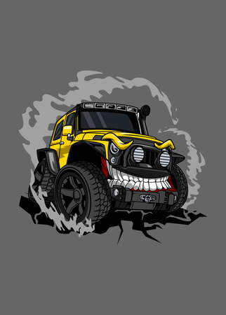 Vector off road yellow monster car, high quality colored design with fun concept, Ilustração