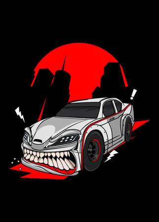 Illustration white speed monster car, high quality colored design with fun concept,