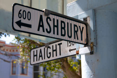 The famous street sign at the intersection of Haight and Ashbury, in San Francisco USA