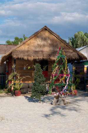 Picture of a Christmas tree at Otres II beach in Sihanoukville, Cambodia Stock Photo