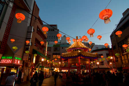 KOBE, KANSAI, JAPAN - NOVEMBER 17, 2018 : View of the beautiful public square in Kobe's Chinatown in a autumn evening