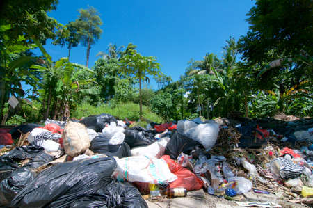Ubud, Bali, Indonesia : 30th March 2018 : Picture of open air waste collecting center on a sunny day, located in Ubud, Bali Stock Photo