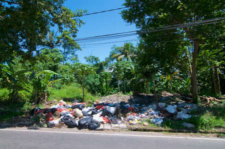 Ubud, Bali, Indonesia : 30th March 2018 : Picture of open air waste collecting center on a sunny day, located in Ubud, Bali 写真素材