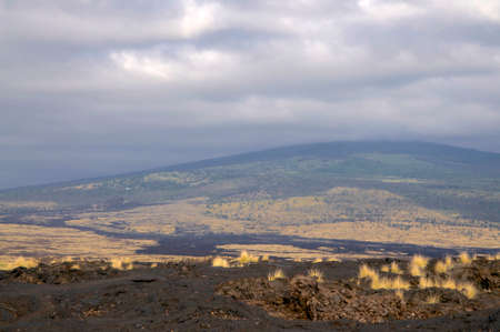 Beautiful view from a lava field and on the Mt. Hualalai in the background on Big Island, Hawaii