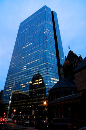 Boston, Massachusetts, USA - 20th July 2014 : View on the John Hancock Tower and surrounding buildings at evening in Boston, Massachusetts, USA