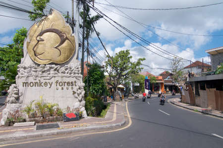 Ubud, Bali, Indonesia - 23th May 2019 : Picture of the Ubud Monkey Forest monument located at the entrance of the Monkey Forest Road in Ubud, Bali - Indonesia