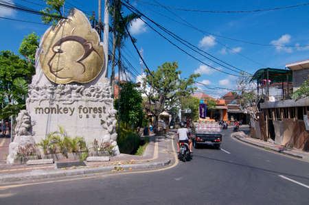 Ubud, Bali, Indonesia - 17th May 2019 : Picture of the Ubud Monkey Forest monument located at the entrance of the Monkey Forest Road in Ubud, Bali - Indonesia