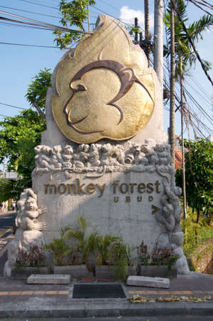 Ubud, Bali, Indonesia - 15th May 2019 : Picture of the Monkey Forest monument located at the entrance of the Monkey Forest Road in Ubud, Bali - Indonesia Editorial