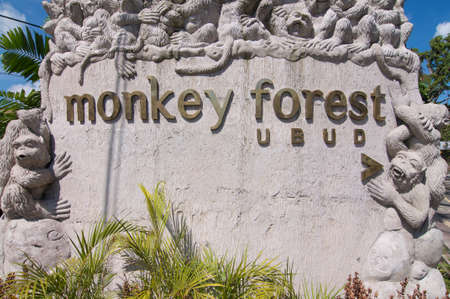 Ubud, Bali, Indonesia - 17th May 2019 : Close up picture of the Ubud Monkey Forest text read on the Monkey Forest Monument located in Ubud, Bali - Indonesia Editorial