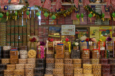 Kuala Lumpur, Malaysia - 9th May 2019 : Picture of a typical Malaysian Cookies shop located inside the Central Market in Kuala Lumpur, Malaysia