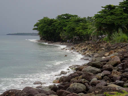 Beautiful Jamaican coastline view of the Buff Bay in the Portland area in Jamaica Stock Photo