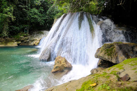 View on the beautiful Rech Falls near Manchioneal Village in Jamaica. This waterfalls are one of the most visited touristic attraction in Portland Zdjęcie Seryjne