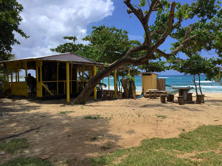 View of a typical Jamaican beach bar on the Long Bay in Portland Parish, Jamaica