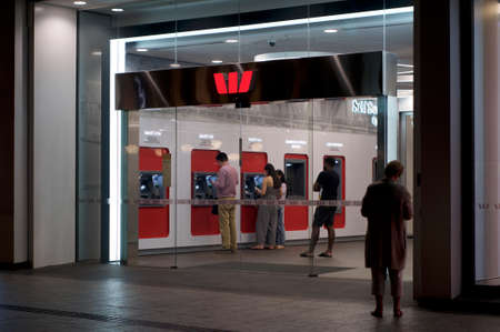 Brisbane, Queensland, Australia - 26th November 2019 : View of the Westpac bank entrance hall in Queenstreet with many many people using their ATMs