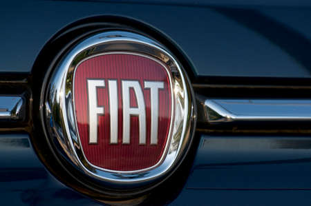 Vezia, Ticino, Switzerland - 7th October 2019 : Close up picture of the Fiat logo placed on a cars hood